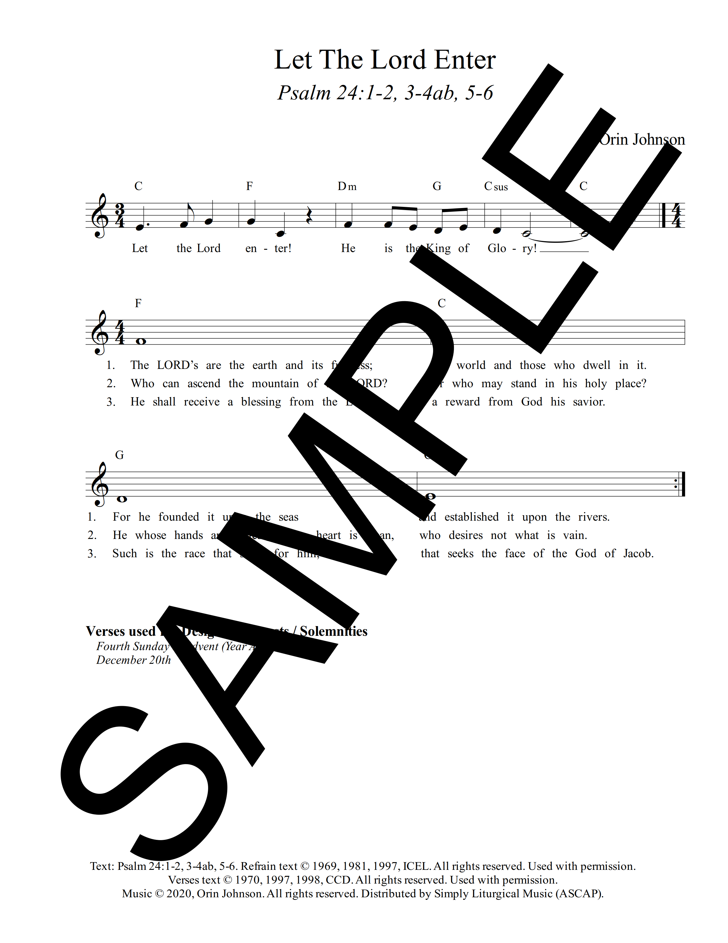 Psalm 24 Let The Lord Enter Johnson Sample Lead Sheet 1 png