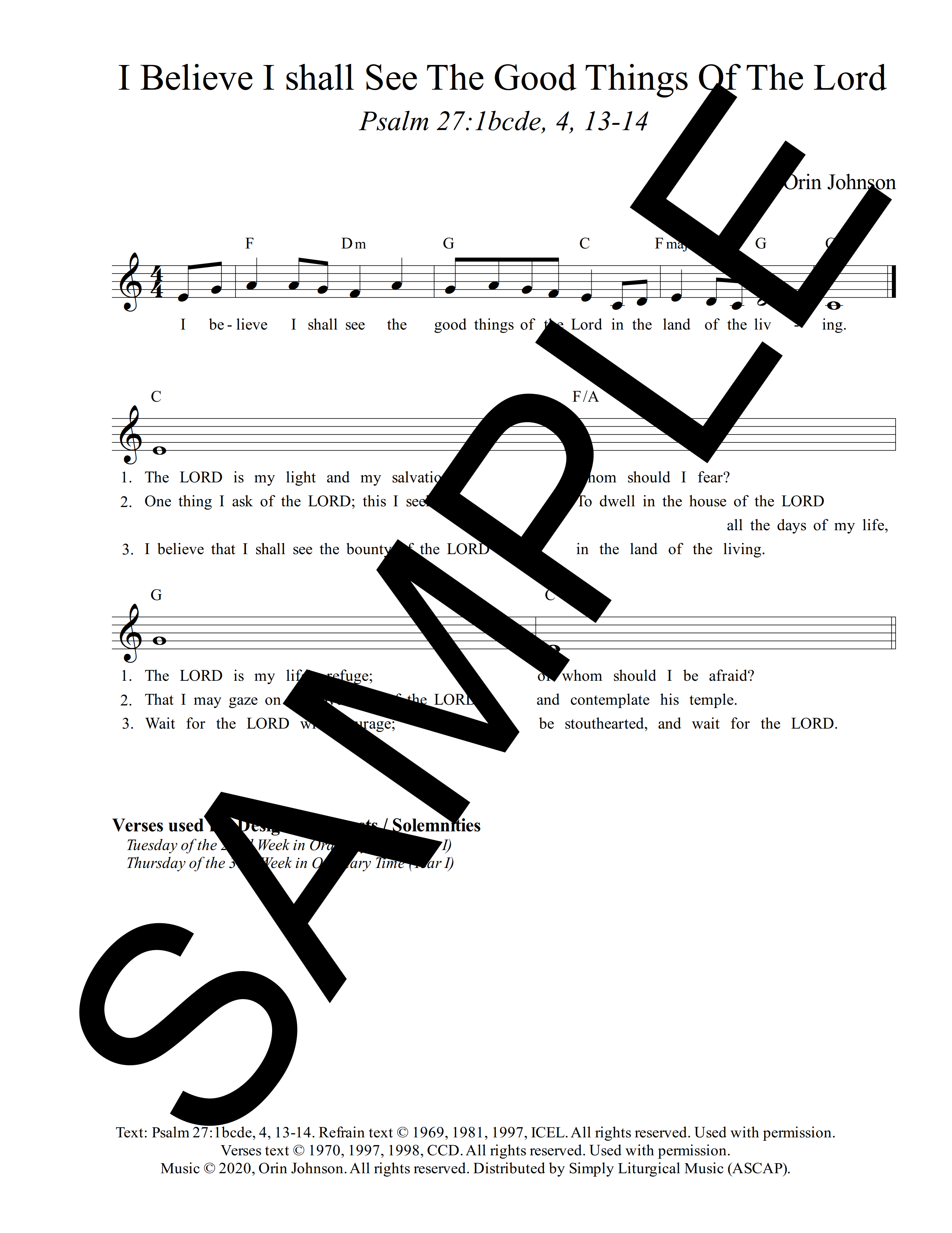 Psalm 27 I Believe I Shall See The Goodness Of The Lord Johnson Sample Lead Sheet 1 png