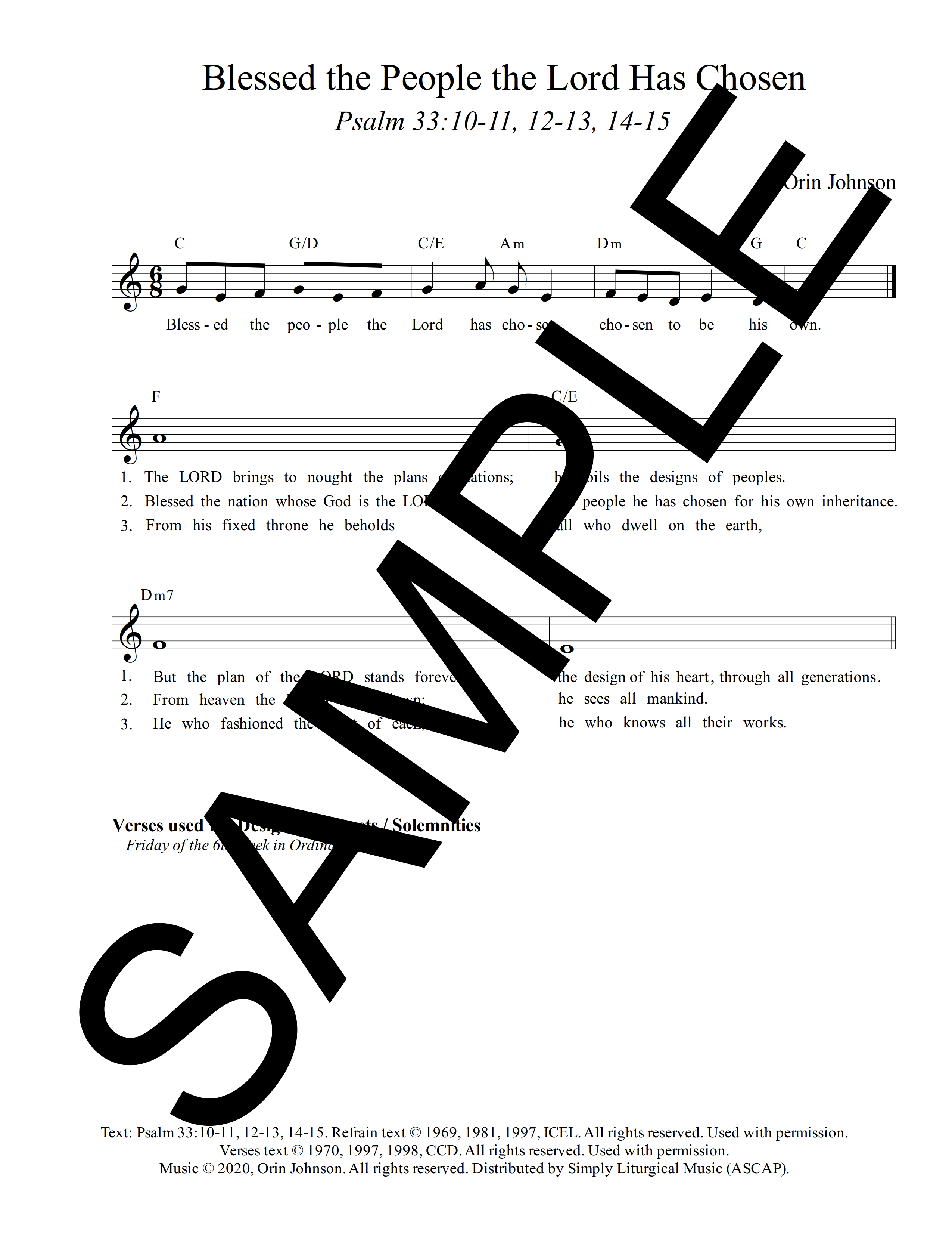 Psalm 33 Blessed the People the Lord Has Chosen Johnson Sample Lead Sheet 1 png