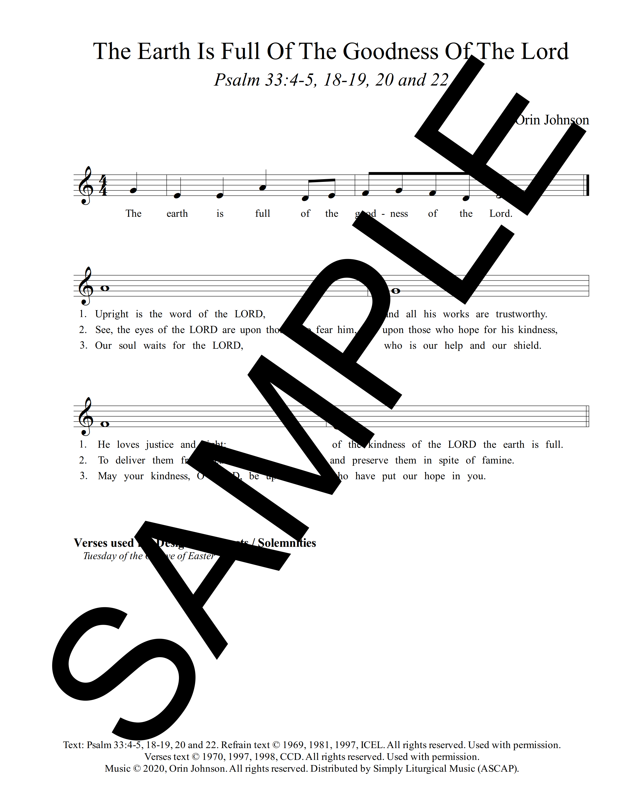 Psalm 33 The Earth Is Full Of The Goodness Of The Lord Johnson Sample Lead Sheet 1 png