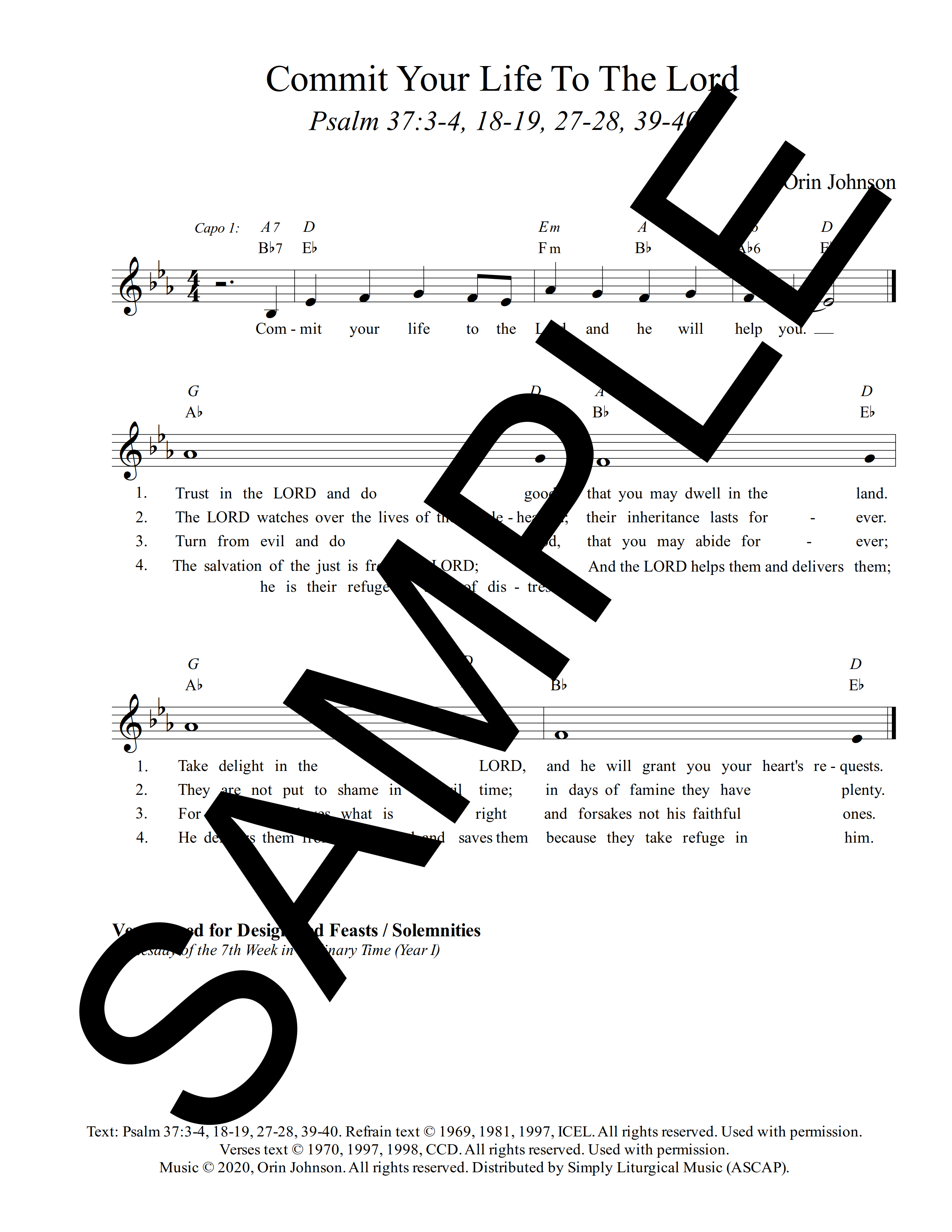 Psalm 37 Commit Your Life To The Lord And He Will Save You Johnson Sample Lead Sheet 1 png