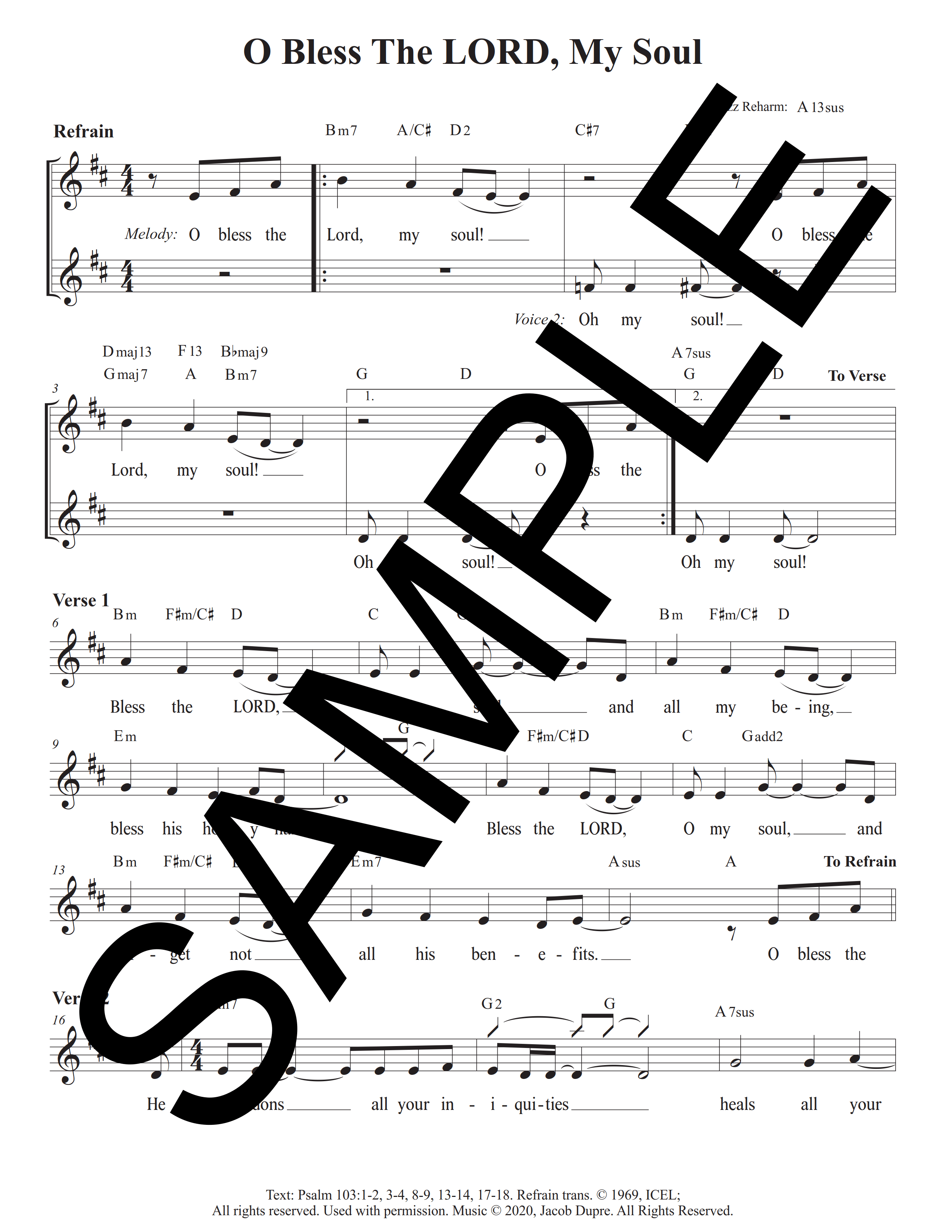 Psalm 103 O Bless the Lord My Soul Dupre Sample Lead Sheet 1 png