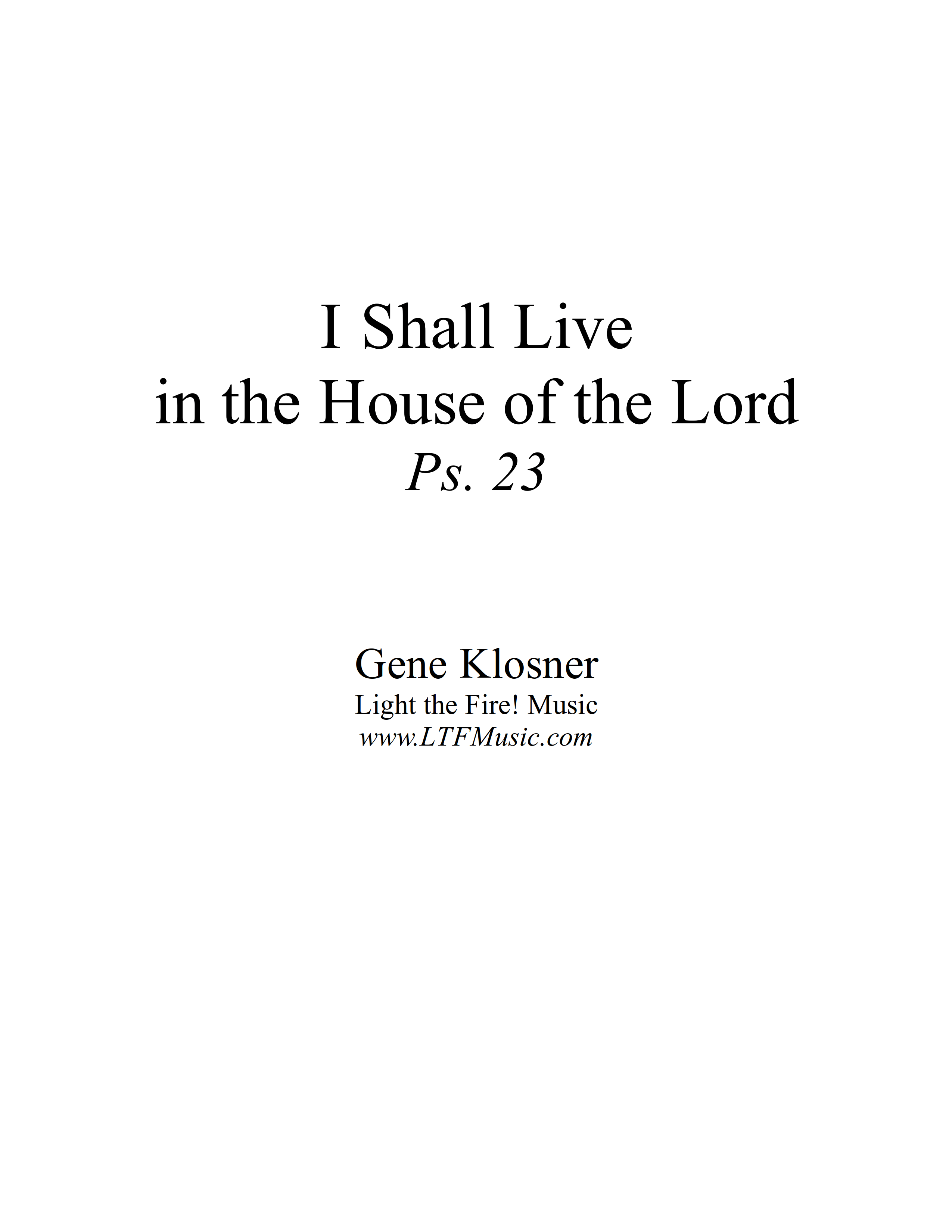 Psalm 23 I Shall Live in the House of the Lord Klosner Sample CompletePDF 1 png