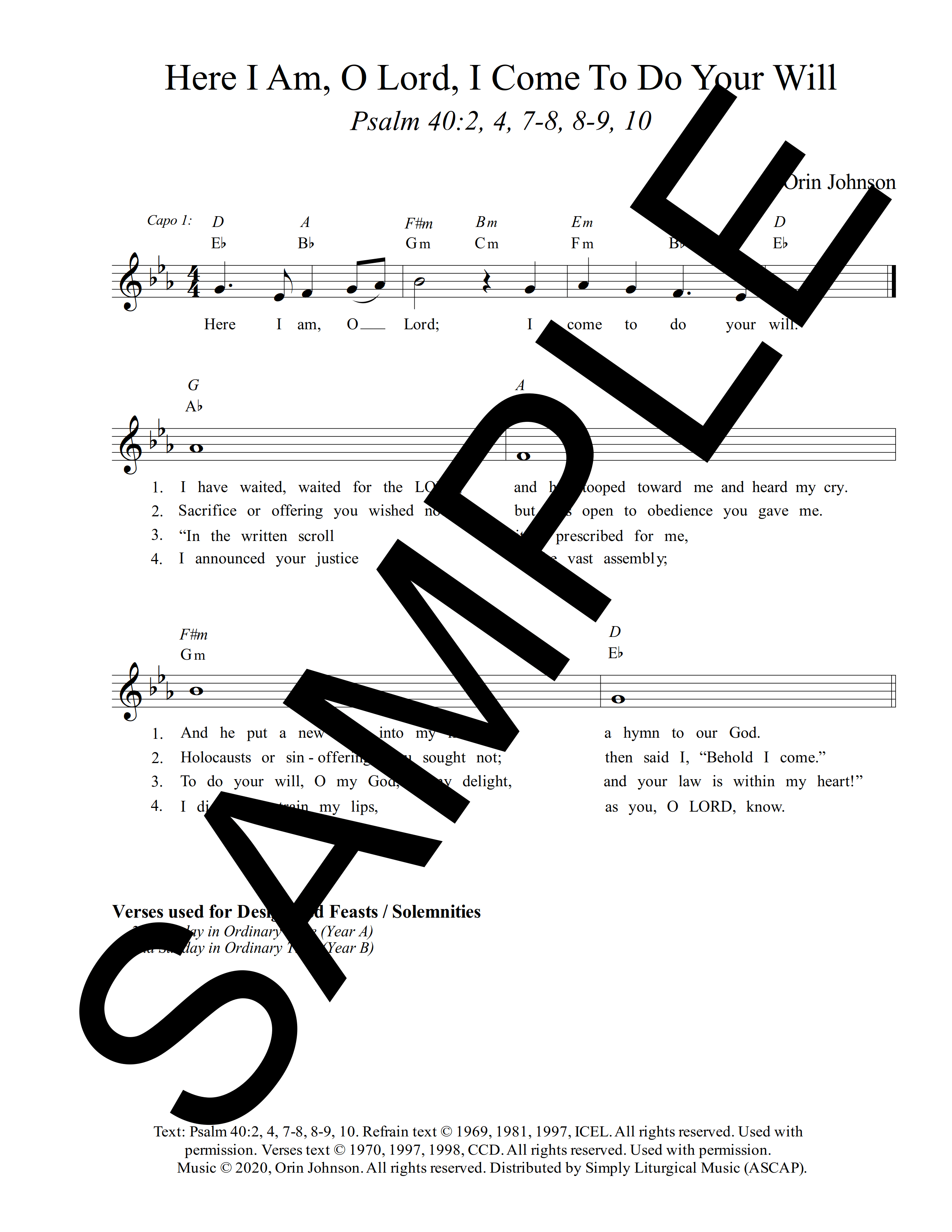 Psalm 40 Here I Am O Lord I Come To Do Your Will Johnson Sample Lead Sheet 1 png