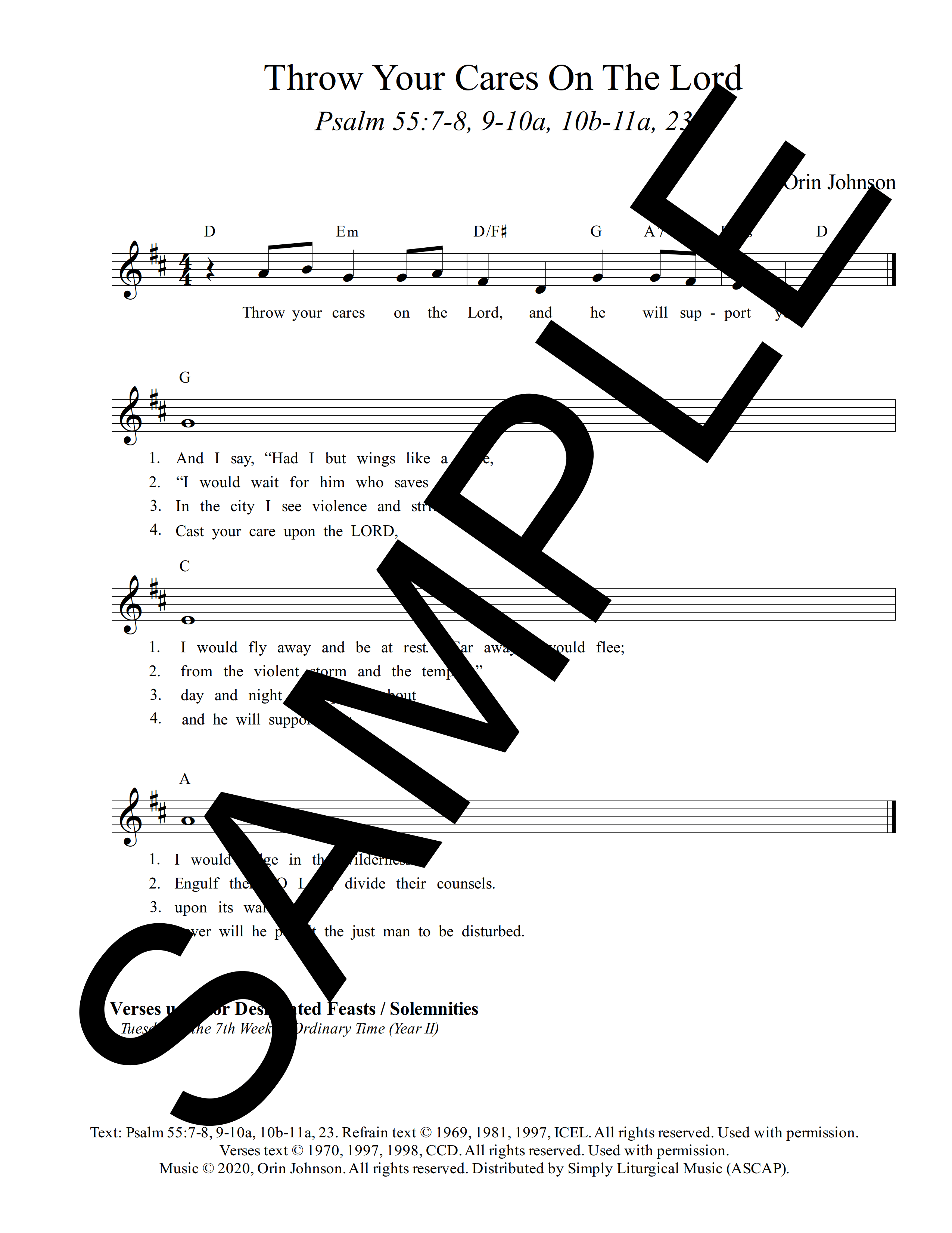 Psalm 55 Throw Your Cares On The Lord Johnson Sample Lead Sheet 1 png