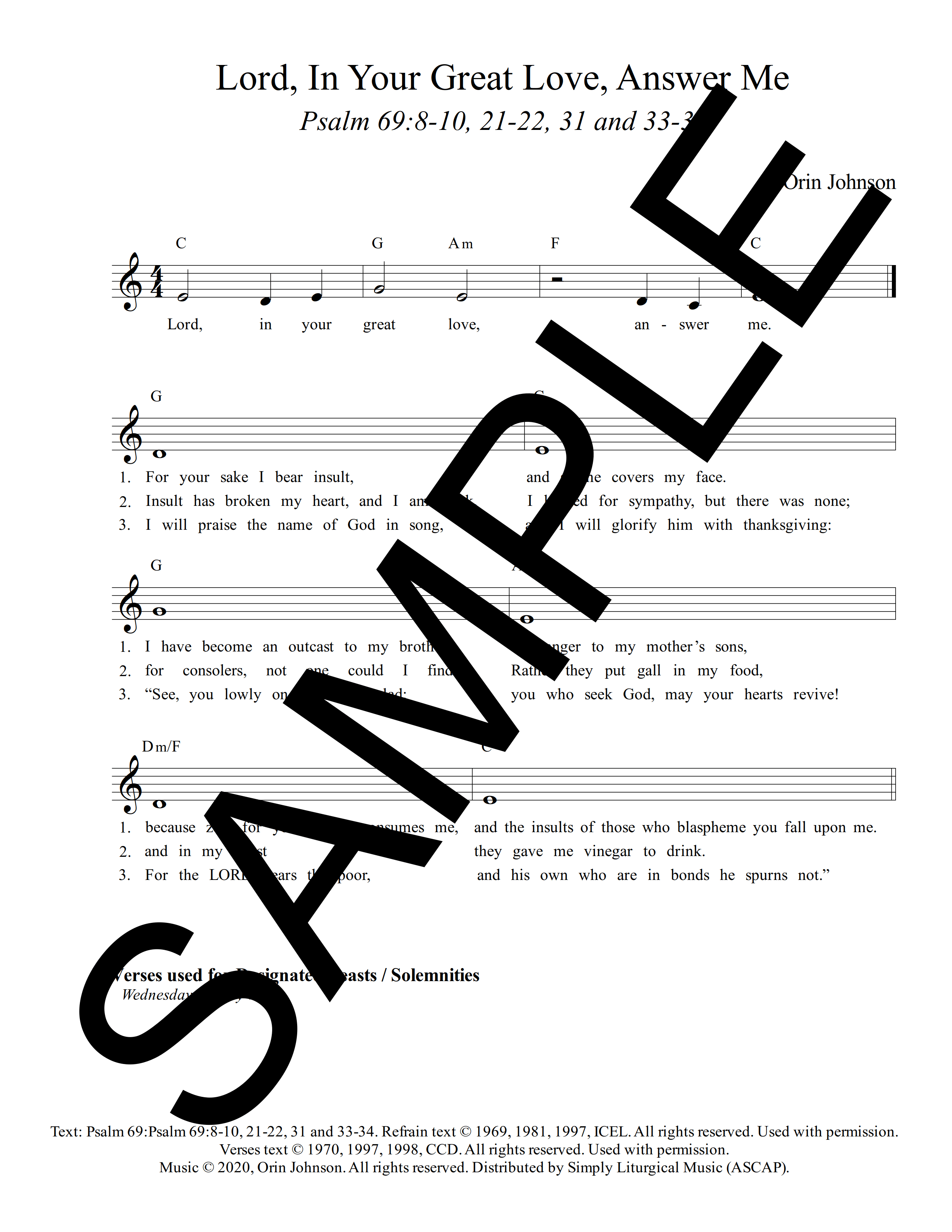 Psalm 69 Lord In Your Great Love Answer Me Johnson Sample Lead Sheet 1 png