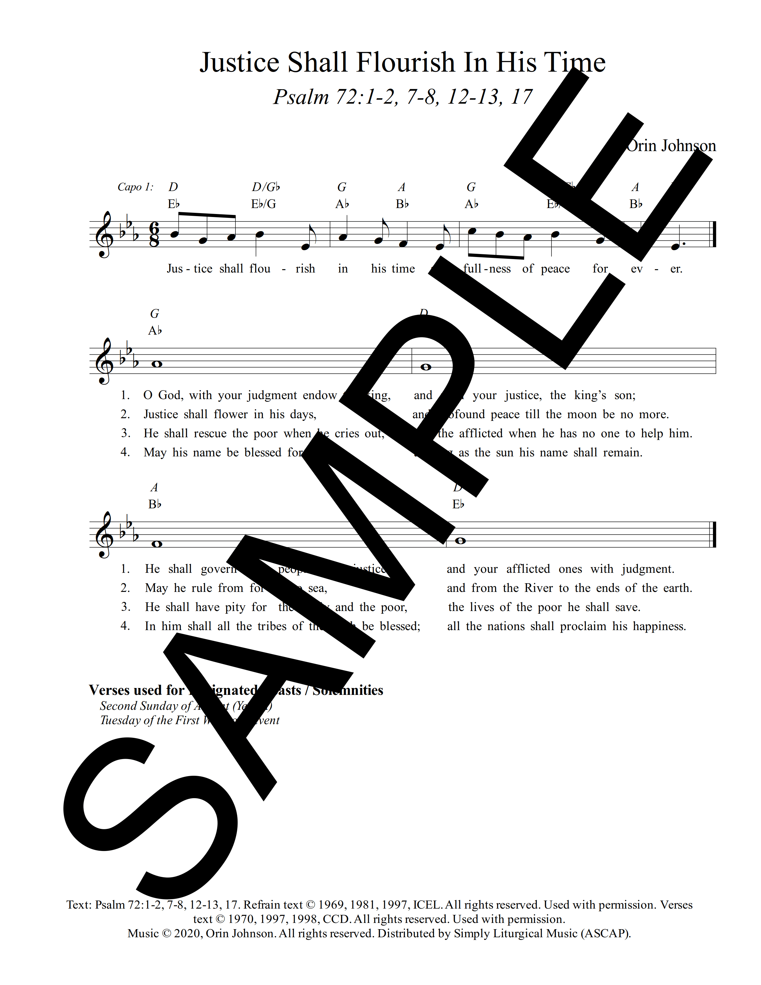 Psalm 72 Justice Shall Flourish In His Time Johnson Sample Lead Sheet 1 png