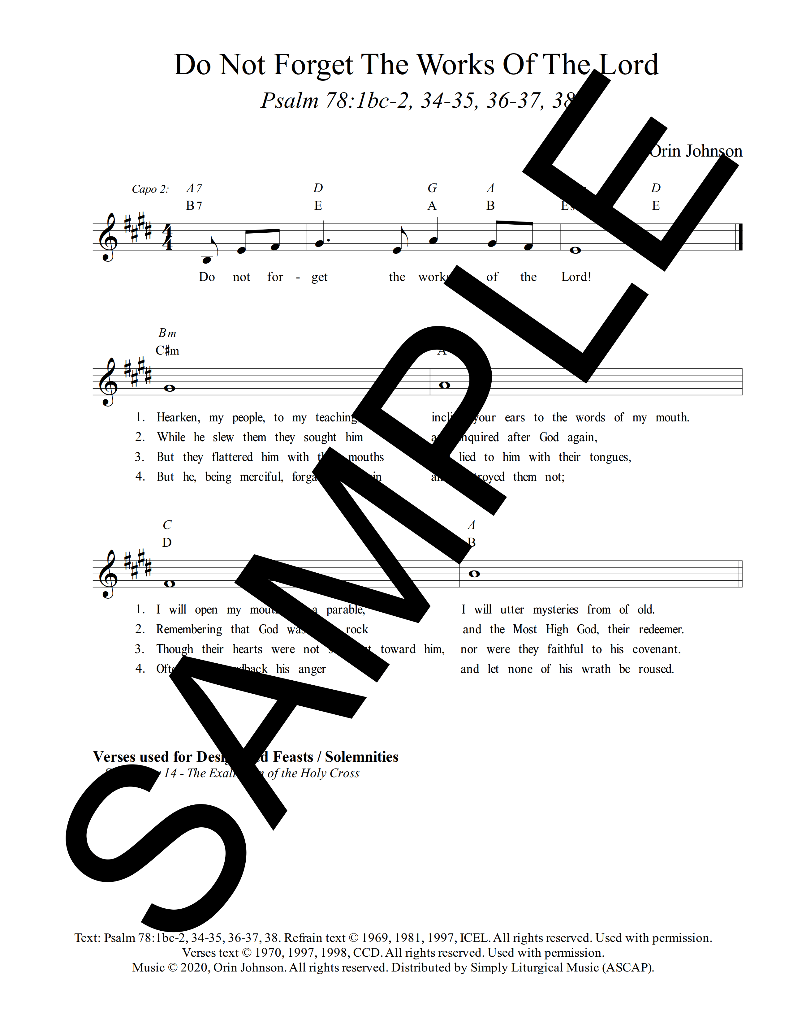 Psalm 78 Do Not Forget The Works Of The Lord Johnson Sample Lead Sheet 1 png