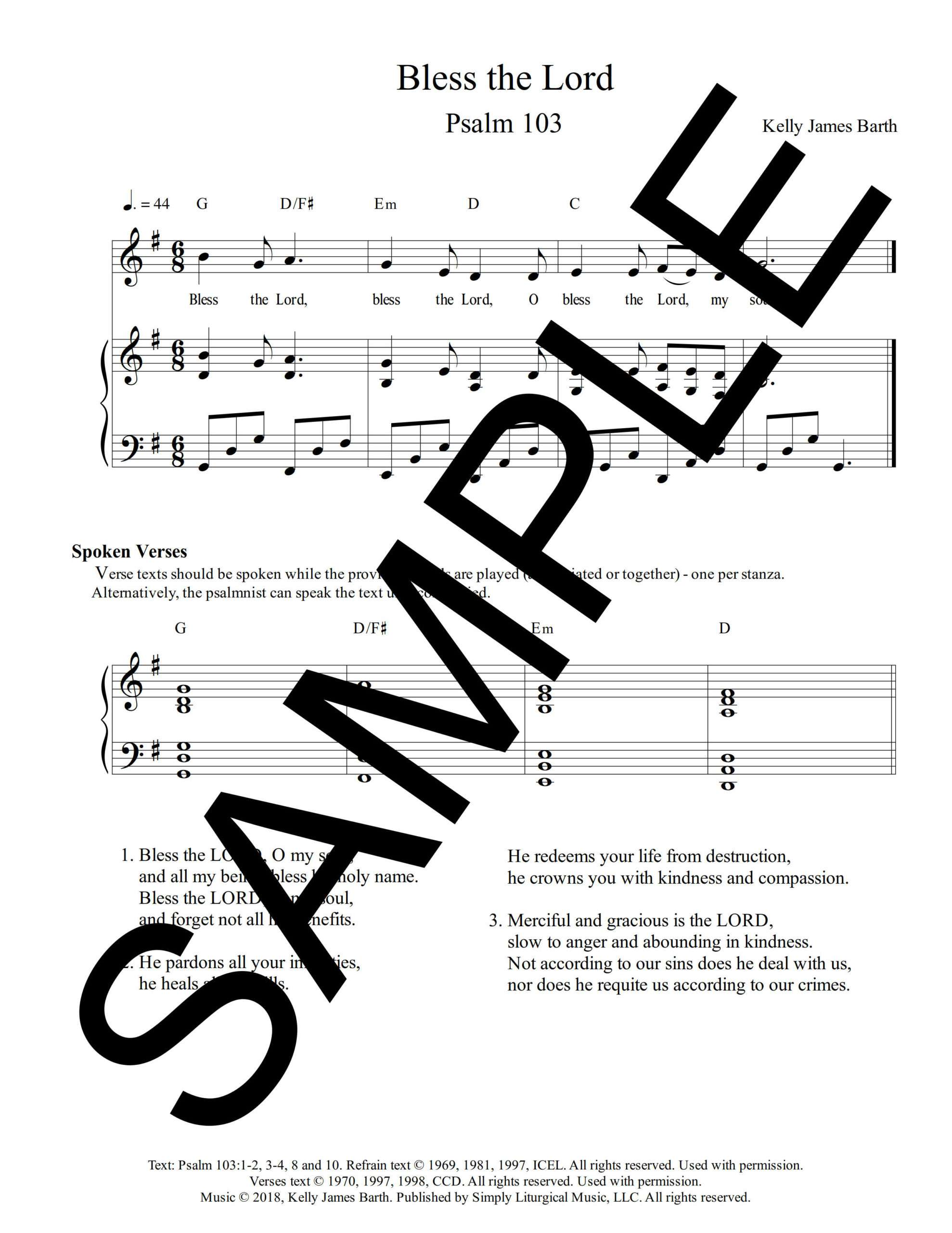 Psalm 103 Bless the Lord Barth Sample Sheet Music 1 png