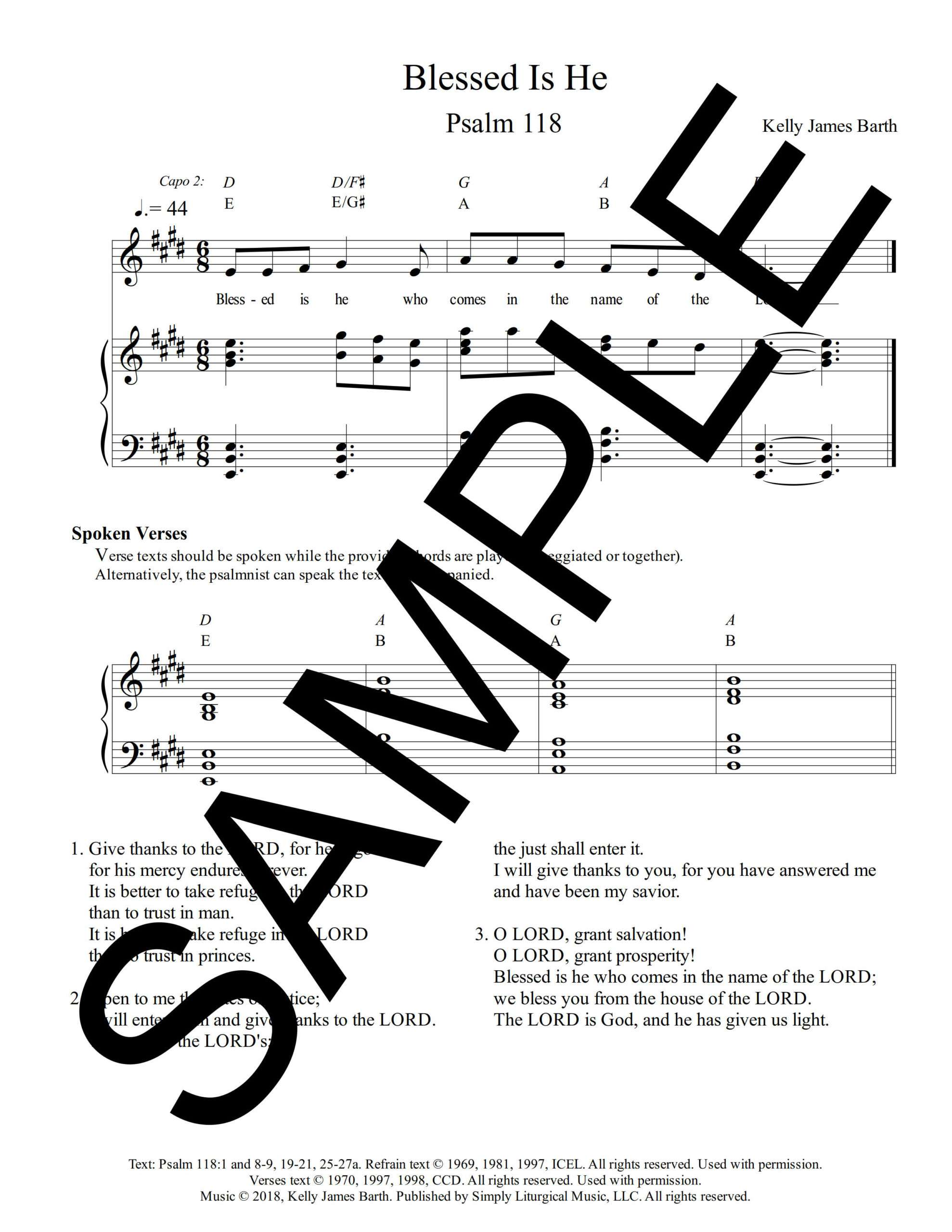 Psalm 118 Blessed Is He Barth Sample Sheet Music 1 png