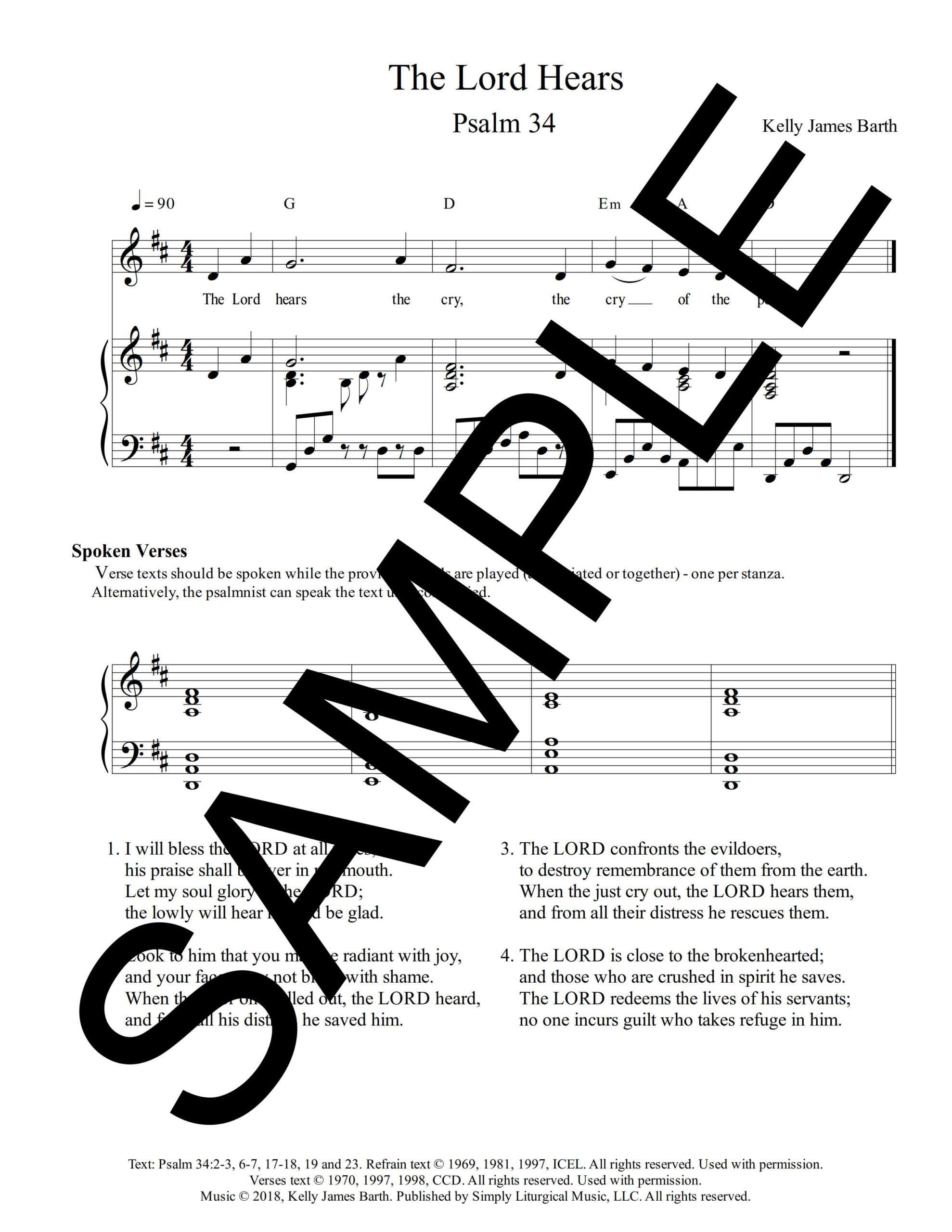 Psalm 34 The Lord Hears Barth Sample Sheet Music 1 png