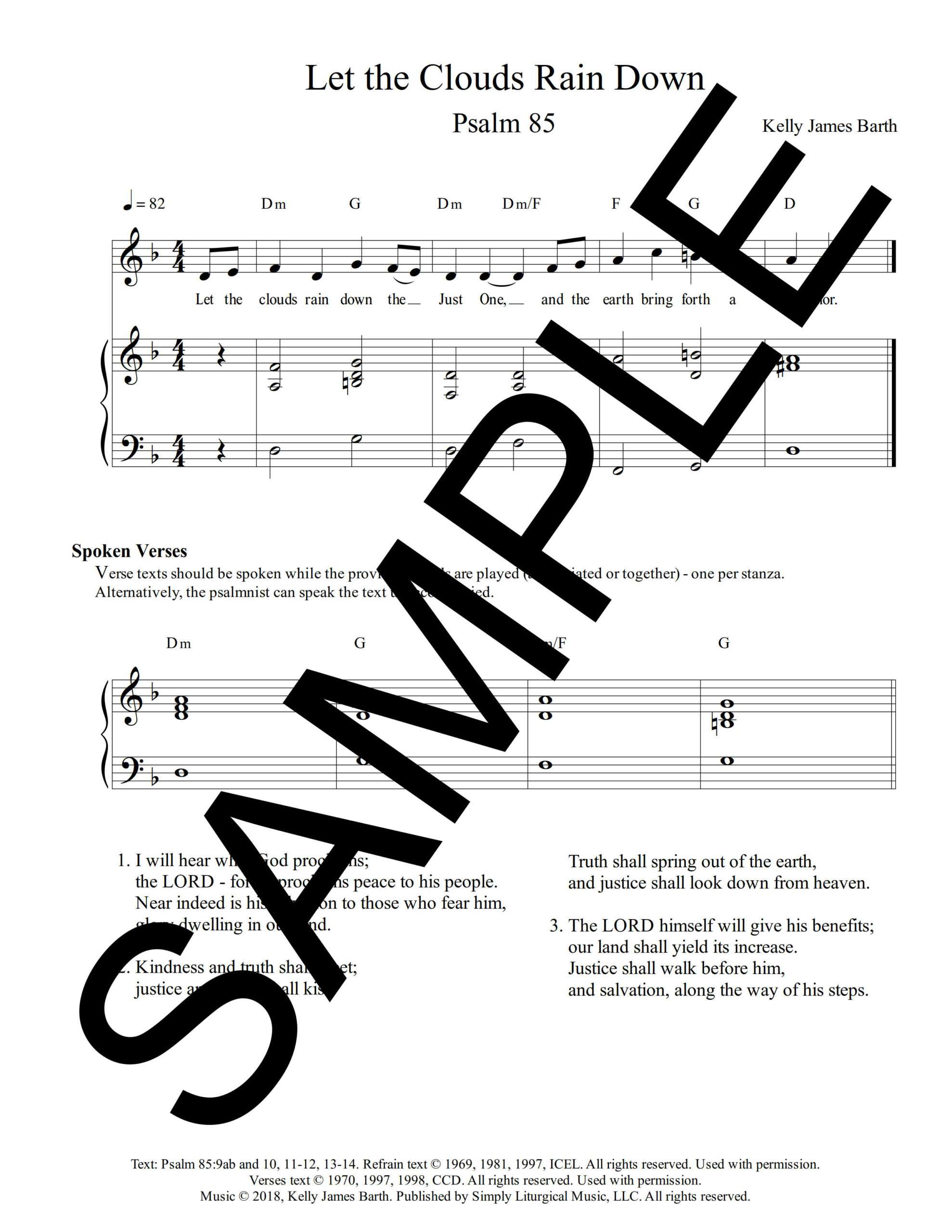 Psalm 85 Let the Clouds Rain Down Barth Sample Sheet Music 1 png