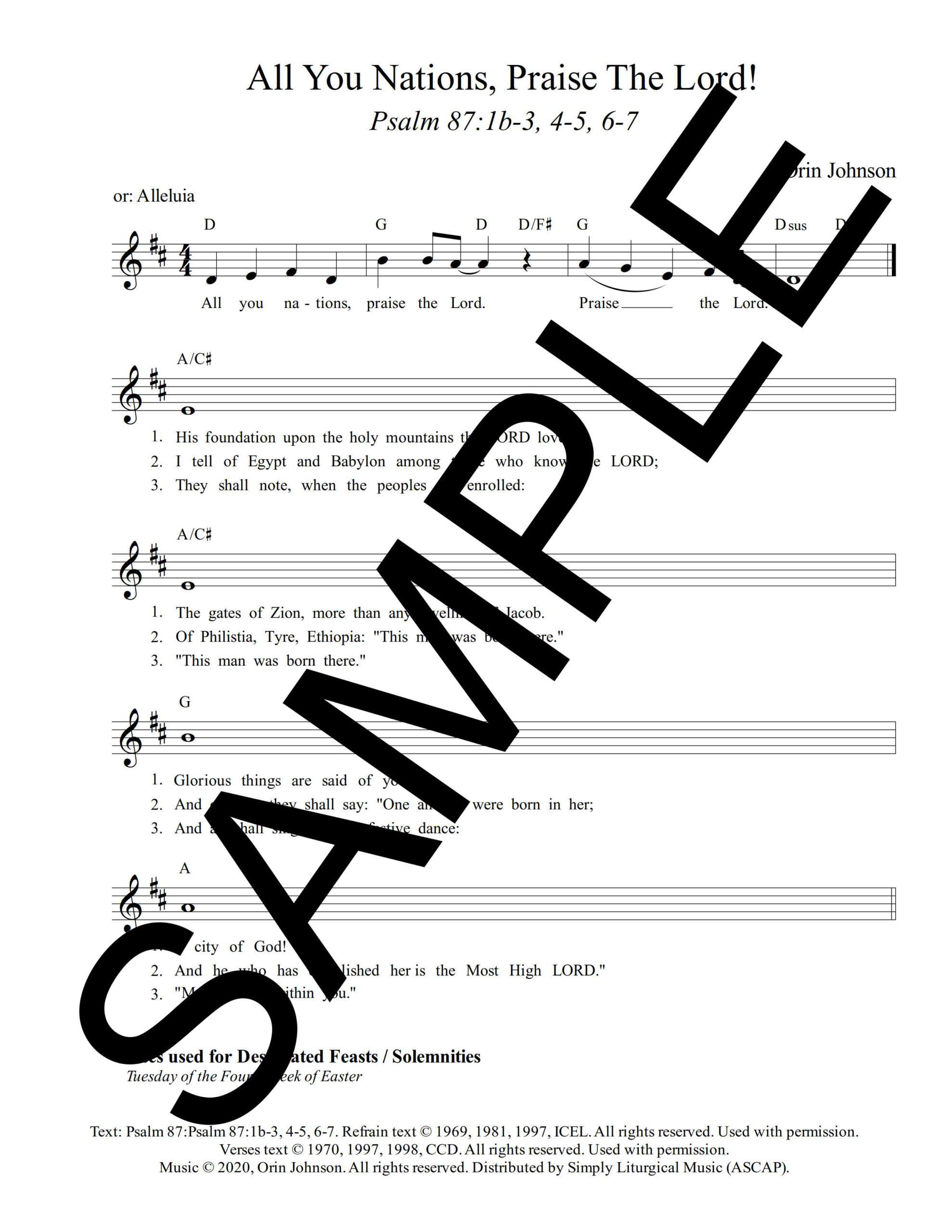 Psalm 87 All You Nations Praise The Lord Johnson Sample Lead Sheet 1 png