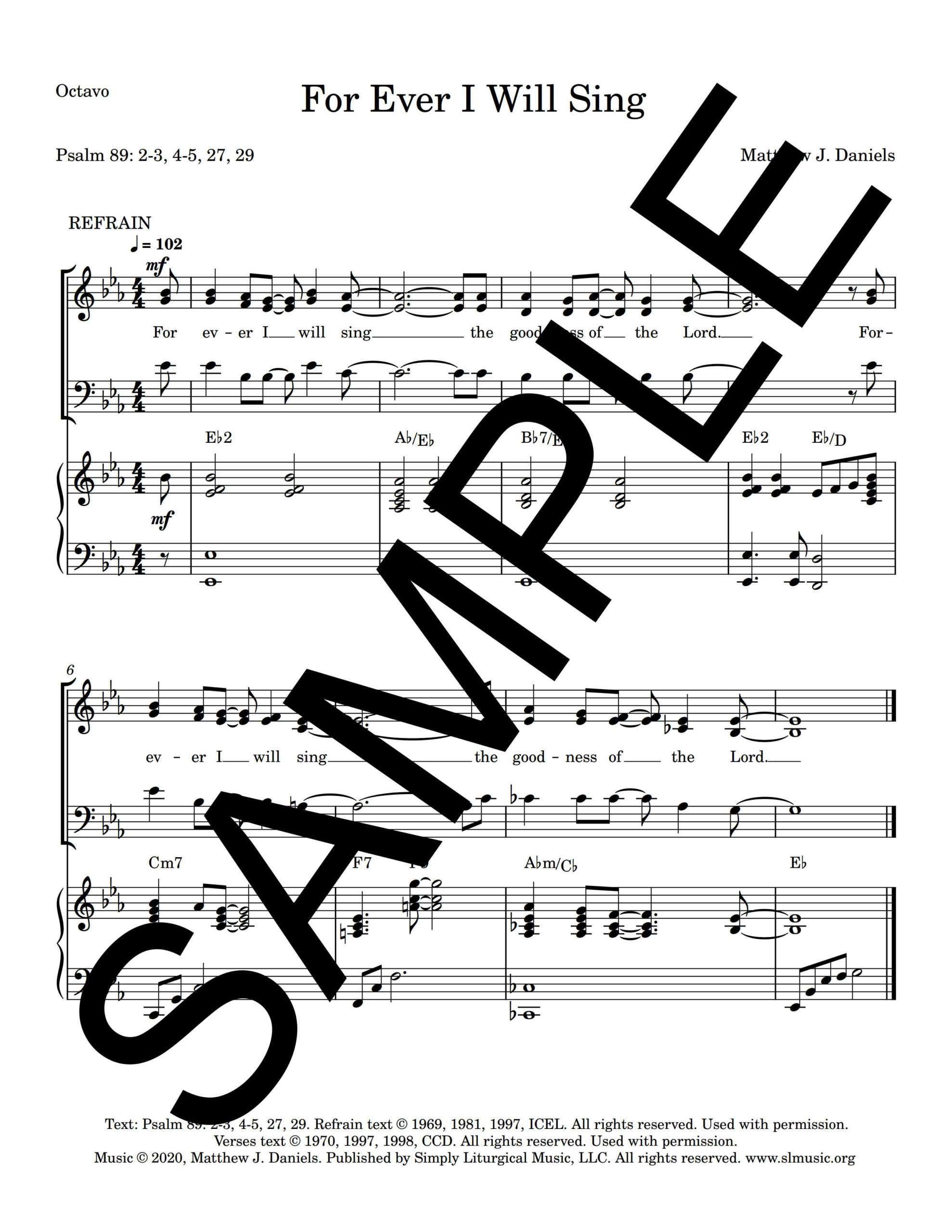 Psalm 89 For Ever I Will Sing Daniels Sample Octavo 1 png