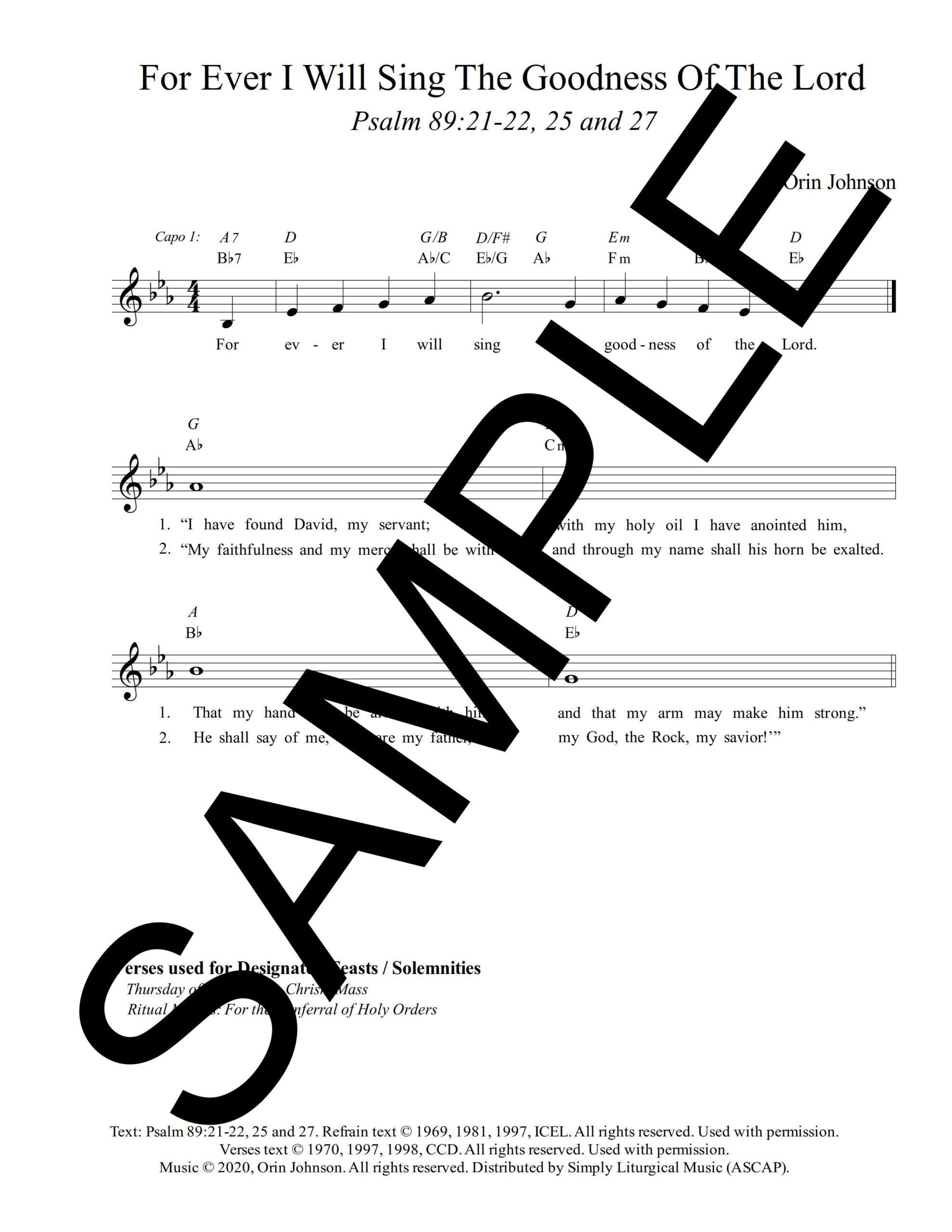 Psalm 89 For Ever I Will Sing the Goodness Of the Lord Johnson Sample Lead Sheet 1 png